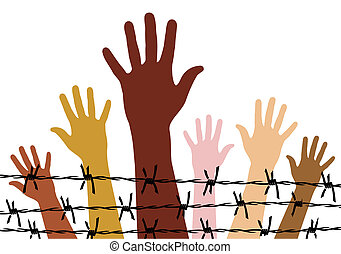 Human rights - Diversity hands behind a barbed wire. Vector...