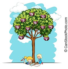 Girls reading under tree with numbers illustration