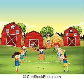 Children playing game in the field illustration