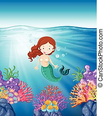 Mermaid swimming in the sea illustration