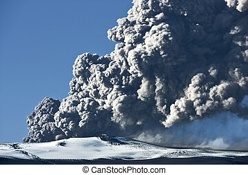 Eyjafjallajokull volcano - Ash cloud rising from the...