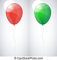Red and green shiny glossy balloons. Vector illustration.