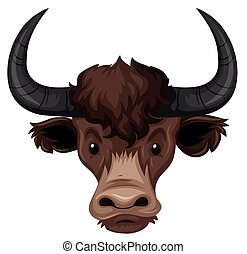 Buffalo head on white background illustration