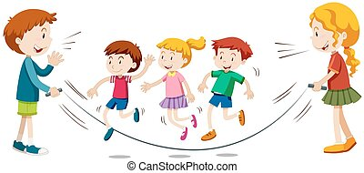 Kids skipping rope  in team illustration