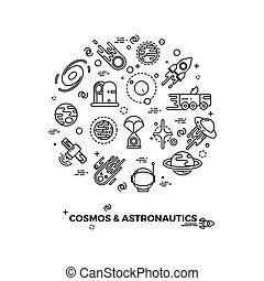 Planets, space and rocket vector icons