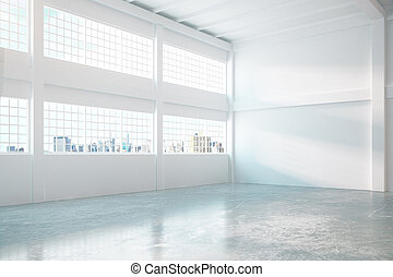 Hangar interior with concrete walls and city view 3D...