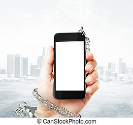 Phone cuffed to hand - Smartphone with blank white screen...