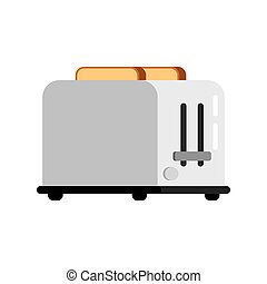 Toaster and bread - Toasts flying out of toaster isolated on...