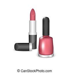 Nail polish and lipstick - Nail Polish and Lipstick on a...