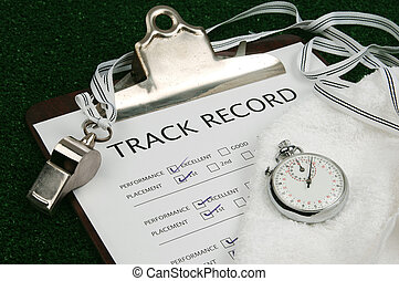 Track Record close-up - track record on clip board with stop...