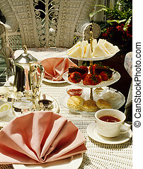 tea for two - High tea in a garden setting on white wicker...