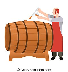 Moonshine and whiskey Oak barrel - Master gains a sample of...
