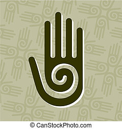 Hand with spiral symbol - Hand with a spiral symbol on the...