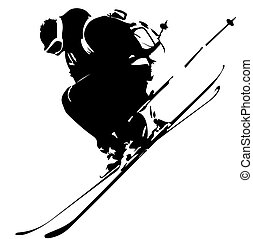 Freeride in Caucasus mountains - Freerider in black on white...