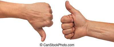 thumbs up - two male hands with thumbs up and down on white...
