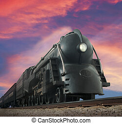 Streamliner Train - Worms-eye view of a vintage train...