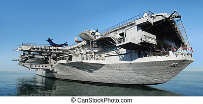 aircraft carrier - USS Midway aircraft carrier at sea