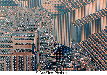 brown electronics background of computer mainboard - brown...