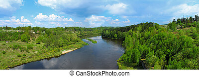 Panoramic image of the river View from above