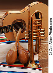 Mariachi - accoustic guitar, maracas and trumpet on mexican...