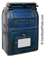 vintage letter box - vintage US mailbox painted blue with...