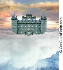 castle in the sky - Castle in the sky resting on white...