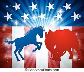 American Election Concept - A donkey and elephant in...