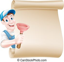 Plunger Handyman Scroll - A cartoon handyman or plumber...