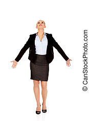 Business woman with outstretched hands.