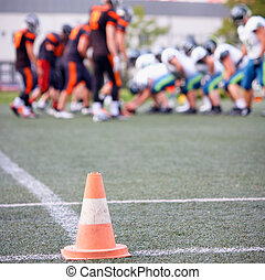 football match - American football match, focus on traffic...
