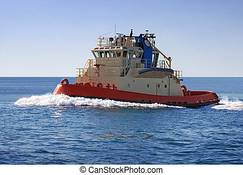 Tugboat - A tugboat out at sea.
