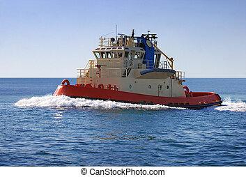 Tugboat - A tugboat out at sea.