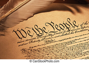 We the People - Close up of the Constitution of the United...