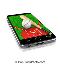 Baseball on Smartphone, Sports App - Baseball Field with...
