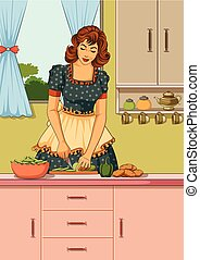Retro lady in kitchen - Concept of retro lady chopping...