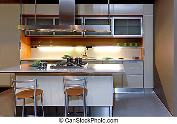 Kitchen at night - Modern large kitchen at night with spot...