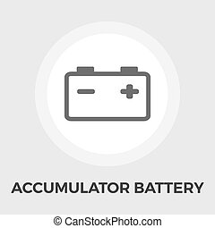 Accumulator Battery Flat Icon - Accumulator Battery Icon...