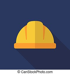 Construction helmet flat icon flat style with long shadow