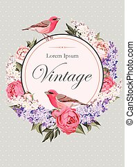 Vintage card with flowers and birds - Vector vintage card...