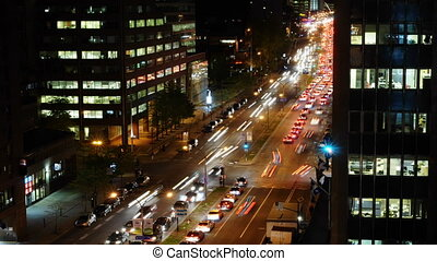 City Traffic - Night Time City With Busy Street Full Of...