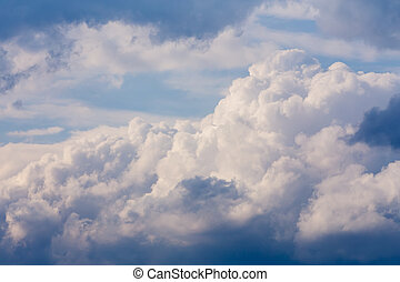 White clouds on evening blue sky, natiral background or...