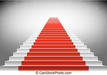 Stairs covered with red carpet. Scene illuminated by a spotlight