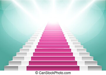staircase with pink carpet Large resolution 3d render art