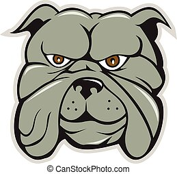 Bulldog Head Isolated Cartoon