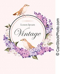 Vintage card with lilac and birds - Vector vintage card with...