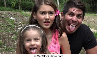 Father And Daughters Acting Silly