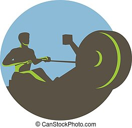 Rower Rowing Machine Circle Retro - Illustration of a...