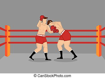 Two Boxers Fighting in Boxing Ring - Vector illustration of...