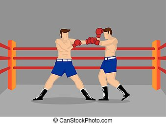 Muscular Boxers Fighting in Boxing Ring Vector Illustration...