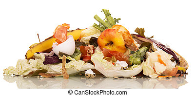 Pile of rotting food waste is isolated on white background....
